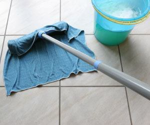 cleaning floor with rag - guelph cleaning